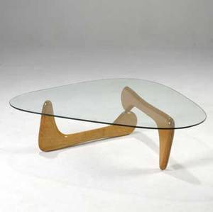 Noguchi style coffee table with hinged maple base and 12 glass top 14 12 x 49 x 35 12