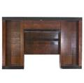 Paul evans customdesigned burlwood veneer and brown lacquer wall unit with fourdoor cabinet over illuminated panel suspended between two open cases 99 x 157 x 16 12