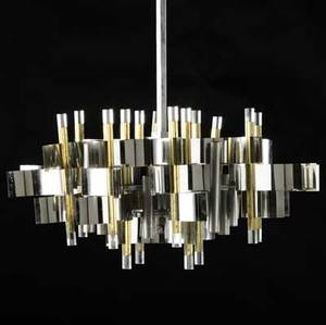 Sciolari chrome brass and lucite lamp with eight sockets sciolari paper label approximately 28 x 25