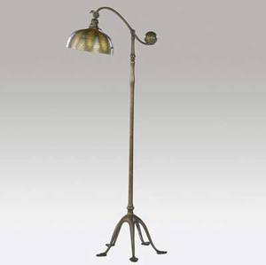 tiffany studios giltbronze counter balance floor lamp with fivefooted base and gold and green favrile glass shade in the damascene pattern fine original patina some chipping to fitter shade etch