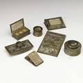 tiffany studios seven piece giltbronze desk set lined in caramel slag glass most in the pine needle pattern note pad 1022 perpetual calendar 930 roller blotter 995 stamp box 801 pen wi