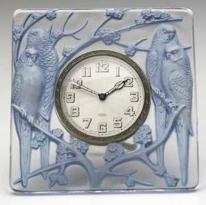 lalique inseparables dresser clock of clear and frosted glass with blue patina c 1926 complete with original eightday clock m p 377 no 765 raised r lalique 4 14 sq
