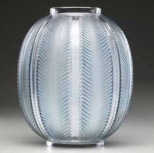 lalique biskra vase of clear and frosted glass with teal green patina c 1932 m p 455 no 1078 etched r lalique france 11 34 x 9