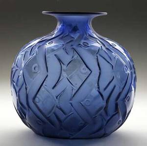 lalique penthievre vase of deep blue glass c 1926 recently discovered in a long island estate minor fleck near footring a couple of small bubbles to interior m p 412 no 1101 engraved r la