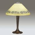 handel table lamp with a mosserine shade obversepainted with a wreath of dark blossoms over a threesocket riveted bronze base fine original patina sockets and cap base stamped handel shade