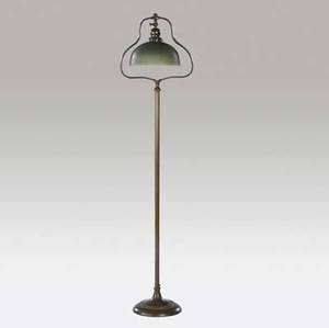 Handel floor lamp with a green mosserine shade on a singlesocket harp top copper base fine original patina shade stamped handel mosserine 6068 56 12 x 10 dia
