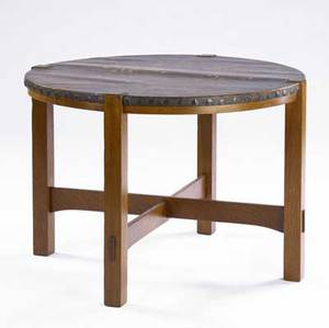 Stickley brothers leathertop library table no 181 with circular top and crossstretcher base unsigned 29 x 48