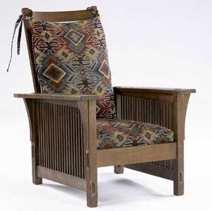 Gustav stickley ladies spindled morris chair no 367 with dropin spring seat and loose back cushion upholstered in tapestry fabric 38 12 x 27 12 x 34