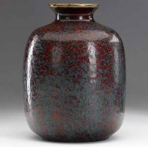 adrien dalpayrat stoneware vase with straight sides and flaring rim covered in a fine oxblood verdigris and teal speckled microcrystaline vase stamped dalpayrat 2037 8 14 x 5 34