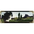 johann von schwarz art nouveau tile by carl luber decorated in cuenca with a blackhaired maiden looking into a landscape with medieval ruins her face finely painted by hand a few short shallow sc
