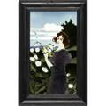 johann von schwarz art nouveau tile by carl luber decorated in cuenca with a redhaired maiden in purple dress picking flowers her face finely painted by hand framed tile 11 x 6 12