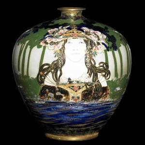 riessner stellmacher  kessel amphora exceptional art nouveau porcelain vase finely decorated in tubeline and enameling with a longhaired maiden wearing a poppycovered crown emerging from the w