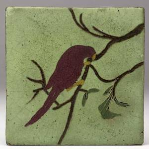 Van briggle rare tile decorated in cuenca with a red parrot on a branch very minor nicks to corners unmarked 6 sq