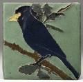 van briggle tile decorated in cuenca with an indigo stellars jay perched on an oak branch glazed over corner chip from firing very light wear to high points unmarked 6 sq