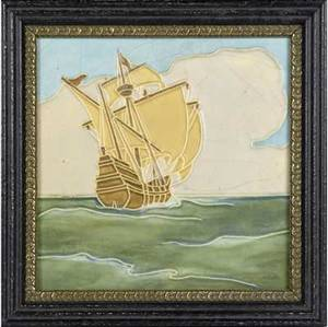 rookwood large tile decorated in cuenca with a tall ship against a sky with clouds framed a few minor nicks to high points restoration to top edge back covered tile 12 sq