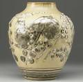 rookwood large later mat  mat moderne vase decorated by william hentschell with antelopes and branches of honesty on a buttery yellow ground 1929 uncrazed perfectly fired a spectacular example
