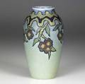 rookwood decorated mat vase painted by charles todd with stylized red and yellow blossoms on a turquoise butterfat ground 1922 flame markxxii900dcst 6 34 x 3 12