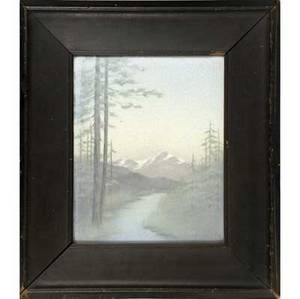 rookwood scenic vellum plaque by lenore asbury depicting a western mountain scene with snowcaps 1912 mounted in original arts and crafts frame flame mark xiila plaque 10 12 x 8 14