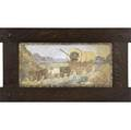 Claycraft tile with oxdrawn covered wagon through the southwestern desert mounted in fine new arts  crafts frame stamped claycraft tile 7 34 x 16
