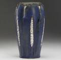 arequipa unusual and superior ovoid vase decorated in enameled squeezebag with organic patterns glazed in bright white on a cobalt and green ground several opposing hairlines around rim signed are