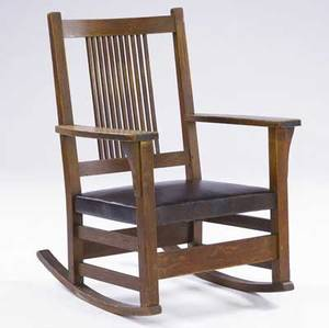 Gustav stickley spindled rocker no 359a with leatherwrapped seat black decal 36 14 x 25 34 x 22