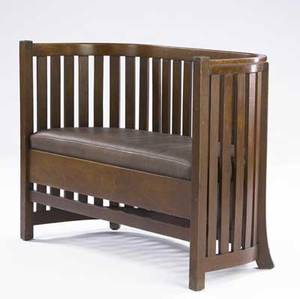 Plail brothers barrel settee with slats to the floor and dropin spring seat covered in chocolate brown leather unmarked 33 12 x 46 x 19 12