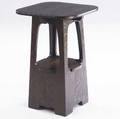 Limbert cutout side table no 240 with rounded top and lower shelf branded signature 30 x 20 x 20