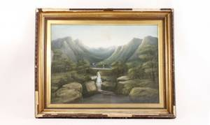 Scottish Landscape of Bridge  Waterfall Pastel