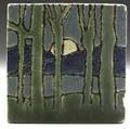 Grueby rare tile decorated in cuerda seca with a full moon rising behind mountains small chips to edges stamped grueby tile boston and signed md 4 sq