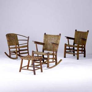 old hickory rustic porch furniture grouping consisting of a matching rocker and armchair with flat arms a barrel rocker and a footstool each piece stamped old hickory indiana armchair 36 x 26