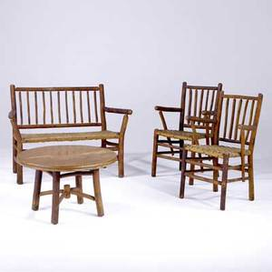 old hickory rustic porch set consisting of a settee pair of armchairs and coffee table each piece stamped old hickory indiana settee 34 x 46 x 24 table 18 12 x 30 dia