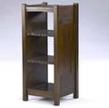 gustav stickley early magazine stand with v aprons paneled sides and tackedon leather covered edges unmarked 35 12 x 15 x 14 12