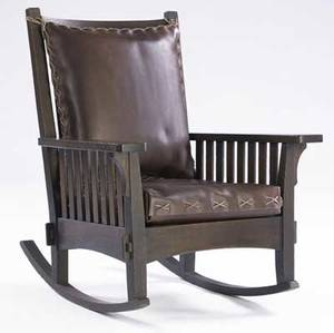 l  jg stickley  onondaga shops rocker no 781 12 with slats to seat new crossstitched leather cushions on webbed base unmarked 36 x 30 14 x 26