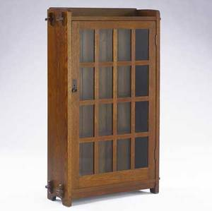 L  jg stickley singledoor bookcase no 641 with gallery top and keyed throughtenons handcraft decal 55 x 33 x 12