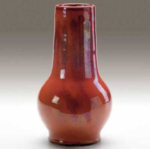 dedham experimental bulbous vase by hugh robertson covered in partly lustered twotone oxblood glaze incised dedham pottery bw hcr inscribed 271 8 12 x 5