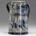 susan frackelton fine saltglazed stoneware vase with three twisted handles painted with a landscape and heartshaped leaves in indigo 1903 signed sf 1903 6 x 5 14