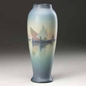 rookwood scenic vellum vase painted by carl schmidt with schooners in venetian bay 1923 uncrazed flame markxxiii1667vpartists cipher 11 x 4