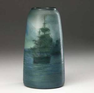 rookwood scenic vellum vase painted by ed diers with tall ships 1908 flame markviii1654ved 9 12 x 5