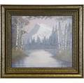 Rookwood very large fine and rare scenic vellum plaque painted by et hurley with a snowcapped mountain and surrounding lake flanked by birch trees 1946 minimal crazing in original frame flame