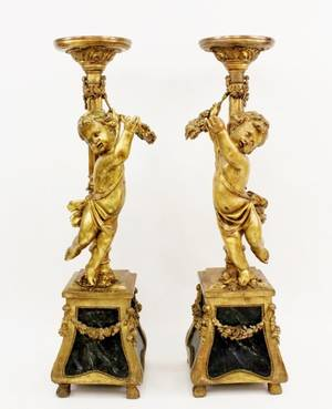Pair of Gilt Putti Floor Pedestals
