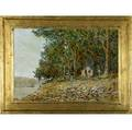 Jane gilday american 20th c lewis island lambertville oil on canvas in artistmade frame signed and titled 17 34 x 25 14 23 34 x 21 14 frame provenance private collection lambe