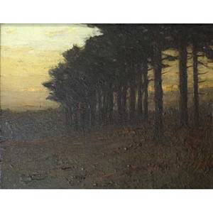 Charles warren eaton american 18571937 the pine grove oil on board framed signed and titled 8 14 x 10 exhibition thumbbox exhibition salmagundi club new york label on verso prove
