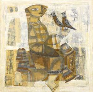 Natvar bhavsar indian b 1934 two works of art untitled mixed media on canvas framed signed 24 x 24 untitled mixed media on canvas framed signed 18 x 24 provenance private collect