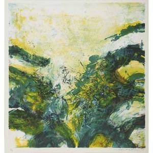 Zao wouki chinese b 1921 two works of art untitled 1979 lithograph in colors framed signed dated and numbered 699 17 34 x 17 sight untitled 1970 lithograph in colors framed si