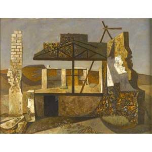 John atherton american 19001952 ruins ca 1940 oil on masonite framed signed 19 x 25 provenance private collection new york