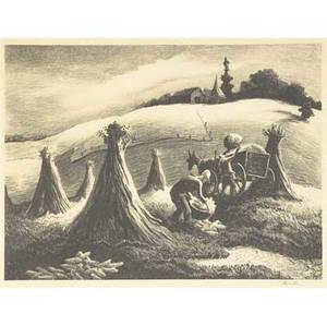 Thomas hart benton american 18891975 loading corn 1945 lithograph on paper framed signed from an edition of 250 publisher associated american artists new york 10 14 x 13 14 sight