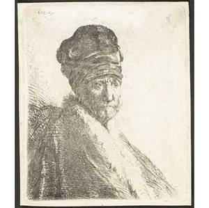 Rembrandt van rijn dutch 16061669 bust of a man wearing a high cap threequarters right the artists father 1630 etching early 19th c impression 4 18 x 3 12 sheet literature bartsc