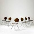 Ron arad set of six anonimus side chairs with mahogany stained birch plywood seats and backs on steel bar frames zevz labels 33 19 12 x 22