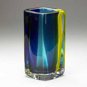 Venini fiji vase in yellow blue and green glass submerged in clear 1998 signed and dated also with clear venini label 13 x 7 12