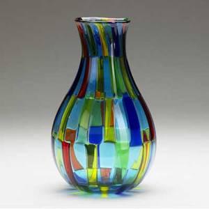 Fulvio bianconi  venini classicallyshaped pezzato glass vase in yellow green blue and red patchwork etched venini italia 10 x 5 34
